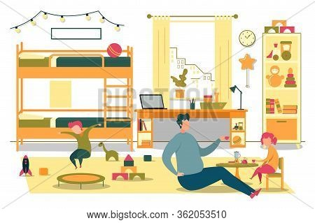 Happy Daddy Play With Cheerful Kid In Bedroom. Rest At Home On Weekend. Fatherhood, Father On Matern