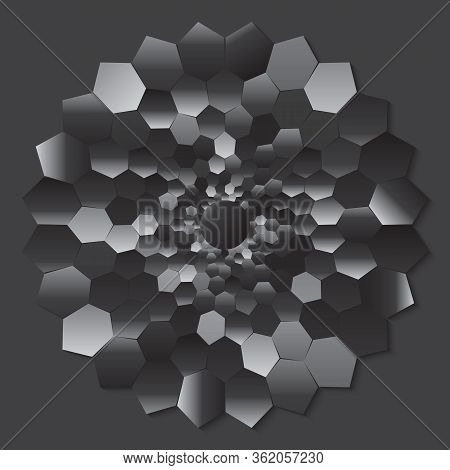 Dotted Halftone Vector Spiral Color Pattern Or Texture. Stipple Dot Backgrounds With Hexagons