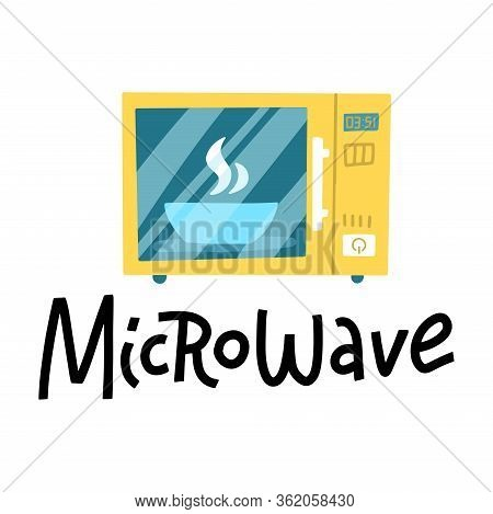 Microwave Oven Logo With Hand Drawn Lettering. Cartoon Illustration Of Microwave Oven Vector Icon Fo