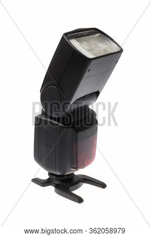 Dslr Camera Speedlite Flash On Its Stand, Isolated On White Background
