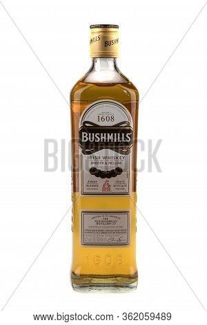 Varna, Bulgaria - April 14, 2020. Bottle Of Bushmills Whiskey, Isolated On White Background. The Old
