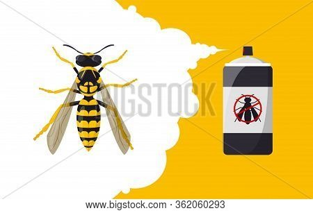 Wasp Repellent Aerosol. Insect Repellent Banner Concept. Pest, Insect And Bug Control Spray Bottle.