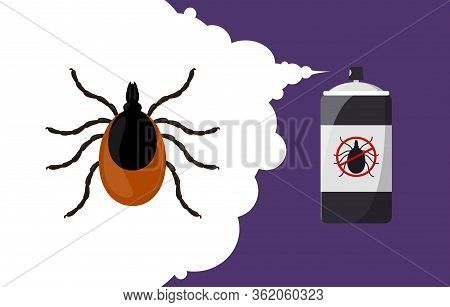 Mite Parasites Repellent Banner Concept. Insect Repellent Aerosol. Pest, Insect And Bug Control Spra