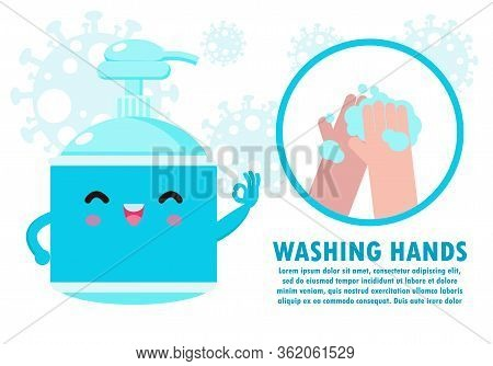 Washing Hand With Antibacterial Hand Sanitizer, Alcohol Gel Cute Character. Hand Sanitizer, Symbol I