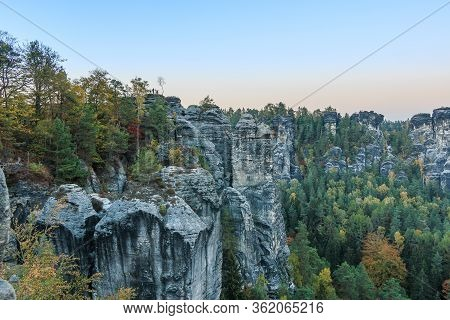 Rock Formation In The Saxon National Park. Evening View In The Landscape Of Saxon Switzerland In Aut