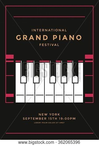 Grand Piano Concert Poster Design. Piano Keys.