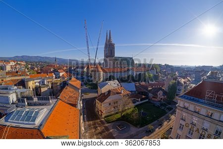 Zagreb, Croatia - April 16, 2020 : Stiched Drone Panorama Of Cathedral Belfries Damaged In An Earthq