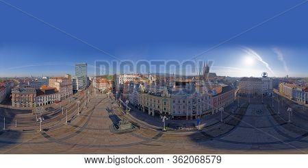 Zagreb, Croatia - April 16, 2020 : Stiched Drone 360 Panorama Of Ban Jelacic Square And Cathedral Be