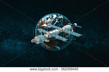 International Space Station In The Orbit Near Planet Earth
