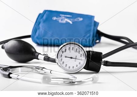 Device For Measuring Blood Pressure. Tonometer, Cuff, Stethoscope On A White Background.