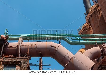 Sloss Furnaces National Historic Landmark, Birmingham Alabama Usa, Pipes Tubes And Furnaces In An Ab