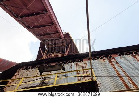 Sloss Furnaces National Historic Landmark, Birmingham Alabama Usa, View Of A Material Chute From Und