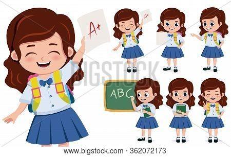 School Girl Student Character Vector Set. School Girl Student Characters In Happy Face Holding Paper