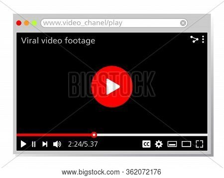 Web Page Design For Viral Videos. Web Site Template With Video Player. Graphic Source For Web Pages
