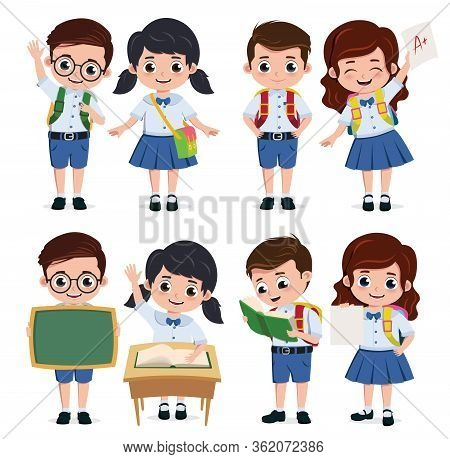 School Classmate Students Character Vector Set. Back To School Classmates Kids Elementary Characters