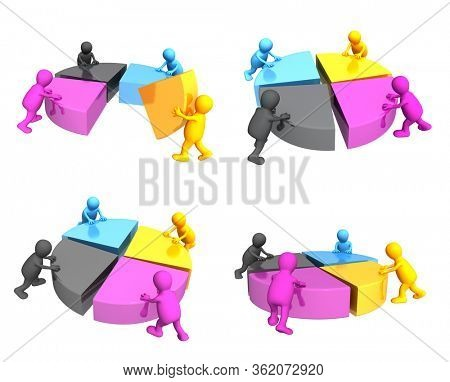 Creativity design set. Symbol of CMYK color blending. Four mans of magenta, yellow, cyan and black colors collecting a palette CMYK. Isolated on white background. 3d render