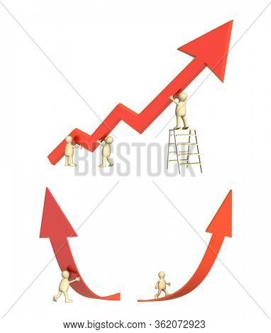 Success concept. Three puppets, supporting the diagram, showing positive results, 3d man supporting an arrow, puppet going on a rising red arrow. Isolated on white background. 3d render