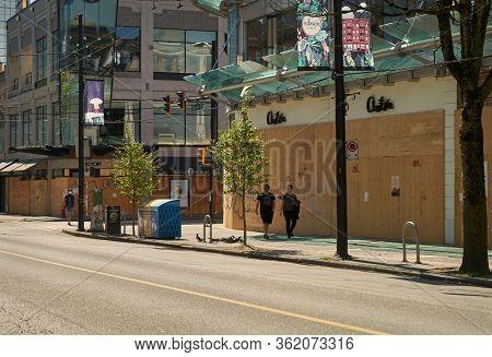 Vancouver, British Columbia, Canada - April 18, 2020. Vancouver Covid-19 Shutdown. Normally Busy Rob