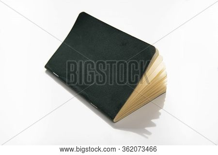 Paper Note Pad With Green Cover On White Background