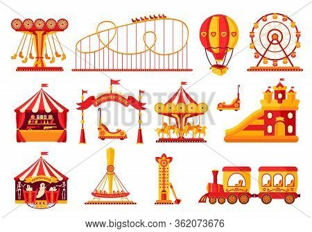 Amusement Park Flat Set. Carousel Cartoon Style. Fairground, Rollercoaster, Carousel Horse, Air Ball