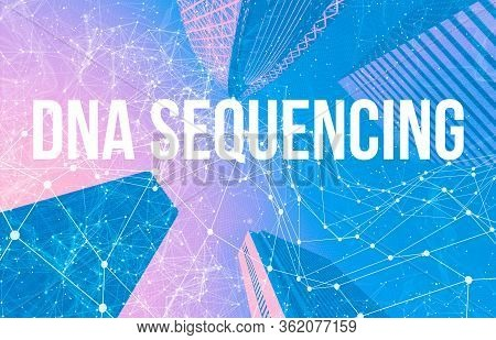 Dna Sequencing Theme With Abstract Network Patterns And Skyscrapers
