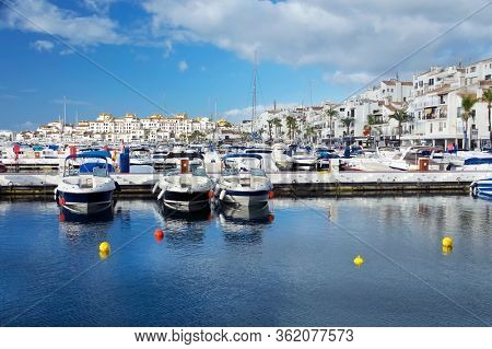 MARBELLA, SPAIN, MARCH 18, 2019: Marbella Resort on Costa del Sol, Andalusia, Malaga province, Spain