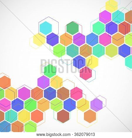 Abstract Geometric Background With Colorful Hexagons. Vector Illustration