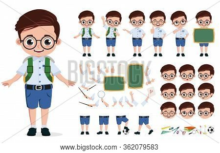 School Boy Character Creation, Vector Set. Back To School Editable Character Student Kid In School U
