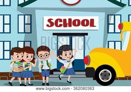 School Kids In Campus Vector Design. Pre-school, Student Kids Characters Happy Boarding On A School