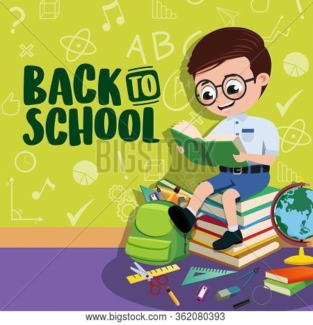 Back To School Boy Student Vector Banner. Back To School Text With Space And Smart Pre-school, Boy S