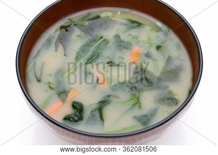 Japanese Food, Miso Soup Of Vegetables In A Bowl On White Background