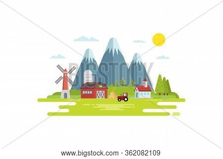 Illustration Of Agriculture And Plantation, The Concept Of Flat Style Design In The Village