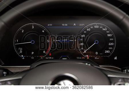 Novosibirsk/ Russia - March 09 2020: Volkswagen Touareg, Car Panel, Digital Bright Speedometer, Odom