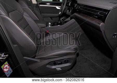 Novosibirsk/ Russia - March 09 2020: Volkswagen Touareg, Luxury Car Interior - Steering Wheel, Shift