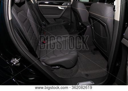 Novosibirsk/ Russia - March 09 2020: Volkswagen Touareg, Comfort Car Inside. Clean Car Interior: Bla