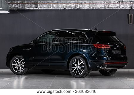 Novosibirsk/ Russia - March 09 2020: Volkswagen Touareg, Off-road Car, Back View. New Black  Modern