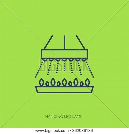 Vector Outline Icon Of Hydroponic And Growth Led Light - Hanging Led Lamp
