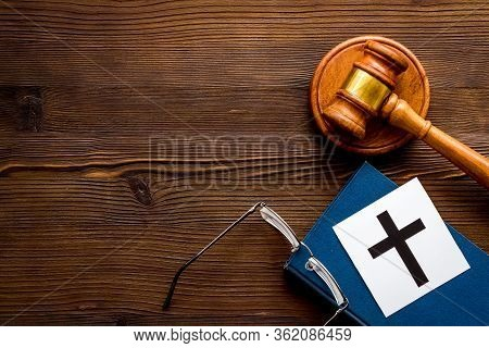 Catholic Cross - Catholicism Religion Concept - Near Gavel And Book On Wooden Desk Top View. Religio