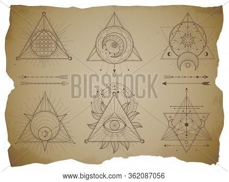 Vector Set Of Sacred Triangle Symbols And Mystic Figures On Old Paper Background With Torn Edges. Ab