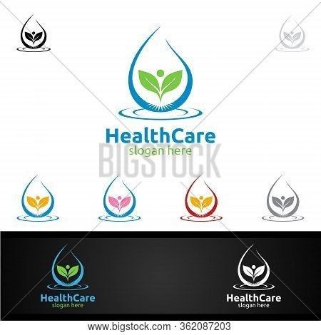Water Drop Health Care Medical Logo With Human And Leaf Character For Therapy, Wellness, Spa, Educat