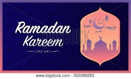 Ramadan Kareem Or Eid Mubarak Premium Islamic Design Background With Muslim Pray Upon The Sky Patter
