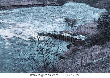 River Stream. Water Flow. Rushing River In Rocky Watercourse. Forest Brook