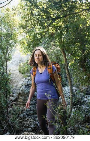 A Girl With Backpack Walks Through The Forest, Hiking In The Mountains, A Woman Is Walking In The Pa