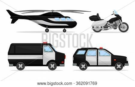 Police Vehicles With Patrol Car And Helicopter Vector Set