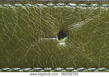 Dark Green Leather Texture With Seams. Material With Stitches Macro Background