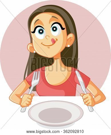 Funny Foodie Girl Craving A Good Meal In A Restaurant