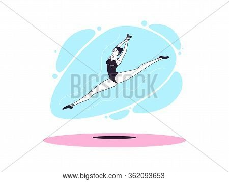 Graceful Ballerina Woman In Outline Minimalist Style. Ballet Dancer Performs Jump And Soars With Twi