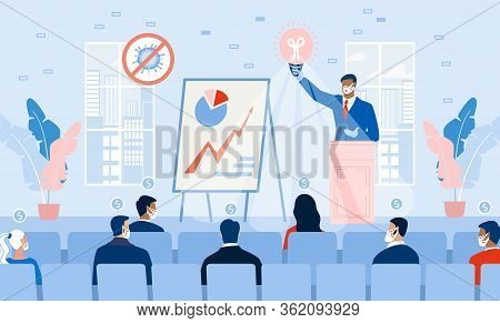 Business Seminar Strategy Idea. Businessman Speaker Doing Presentation At Podium On Stage. Professio