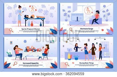 Pregnant Woman Healthy Lifestyle, Shopping For Baby, Hormone Surge, Appetite Trendy Flat Vector Bann