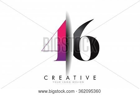 46 4 6 Grey And Pink Number Logo With Creative Shadow Cut Vector Illustration Design